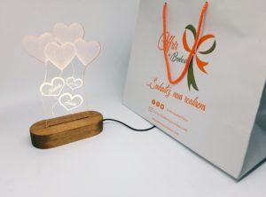 Cadeau personnalisé de lampe 3D d'illusion 3 Cœurs