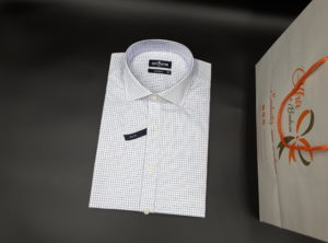 Chemise coupe cintrée à carreaux bleu
