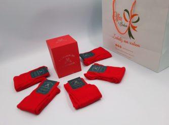 Chaussettes Semainier x 5 - 100% fil d'Ecosse - rouge