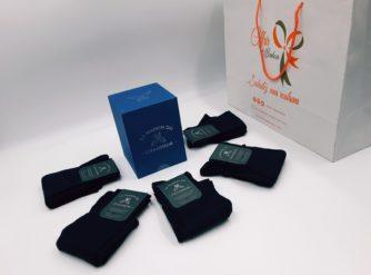 Chaussettes Semainier bleu marine 100 % fil d'Ecosse