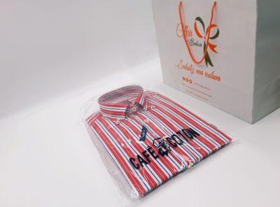 Chemise col boutonné coupe classique à rayures rouge
