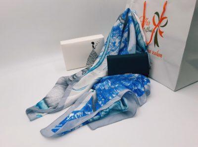 Nanabox Nuances de bleu ( foulard et porte monnaie)