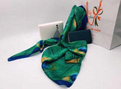 Nanabox Nuances de verts ( foulard et porte monnaie)